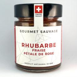 Rhubarbe Fraise Pétale de rose • Confiture artisanale premium suisse • Gourmet Sauvage